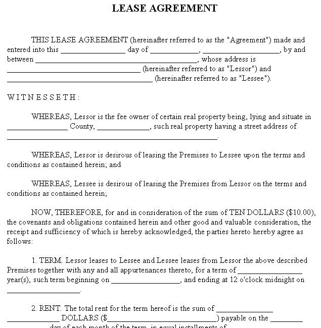 Security Deposit And Lease Agreement